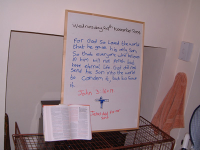 This mornings Bible reading on the whiteboard
